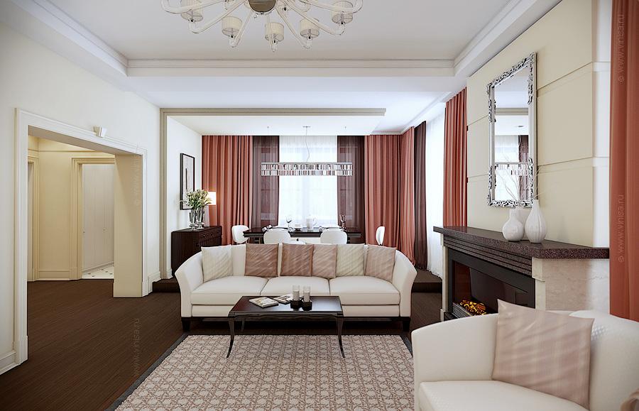 Проект интерьера гостиной в частном доме