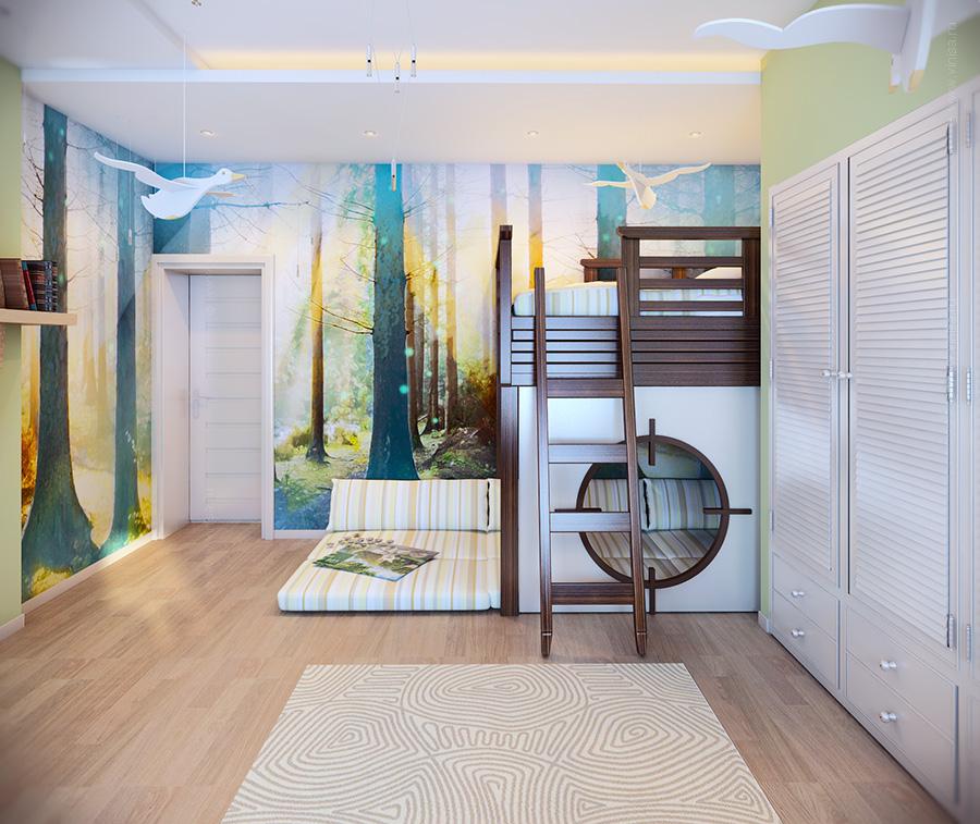 Детская комната с росписью на стене