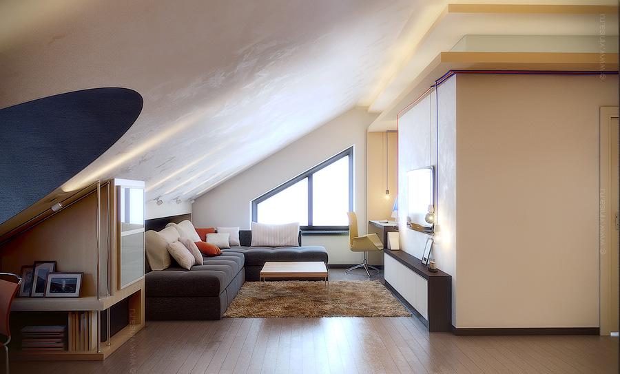 Лаунж комната на мансардном этаже