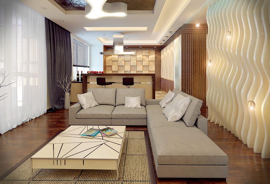 Интерьер гостиной комнаты в современном стиле