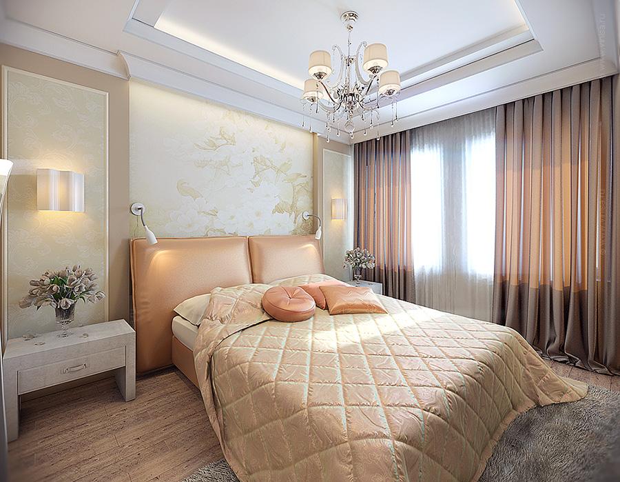 Дизайн интерьера спальни в оттенках персикового цвета