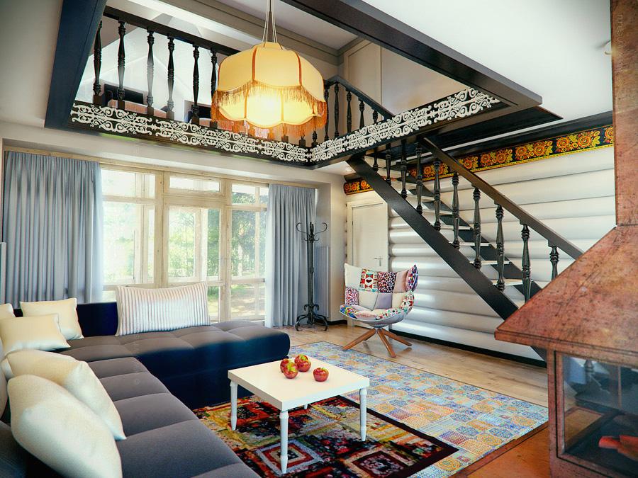 Дизайн интерьера лаунж комнаты в гостевом доме - русский стиль