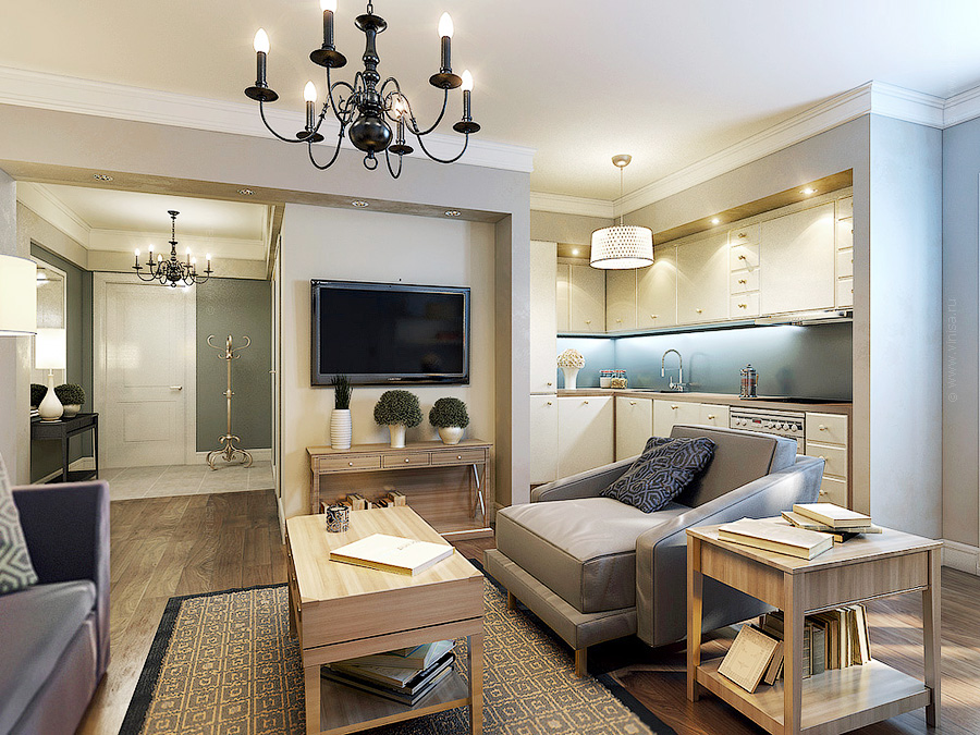 Дизайн проект интерьера квартиры в стилизованной в североамериканском стиле.