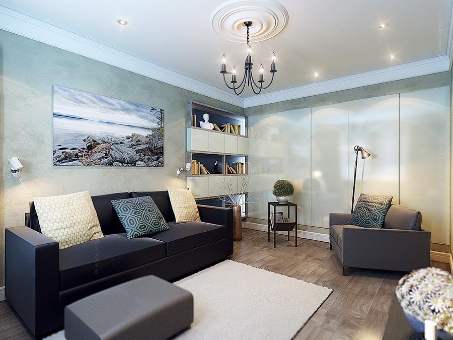 Интерьер гостевой комнаты, дизайн-проект квартиры 86 кв.м.