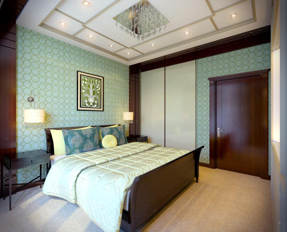 Интерьер спальной комнаты стилизованный в английском и викторианском стиле