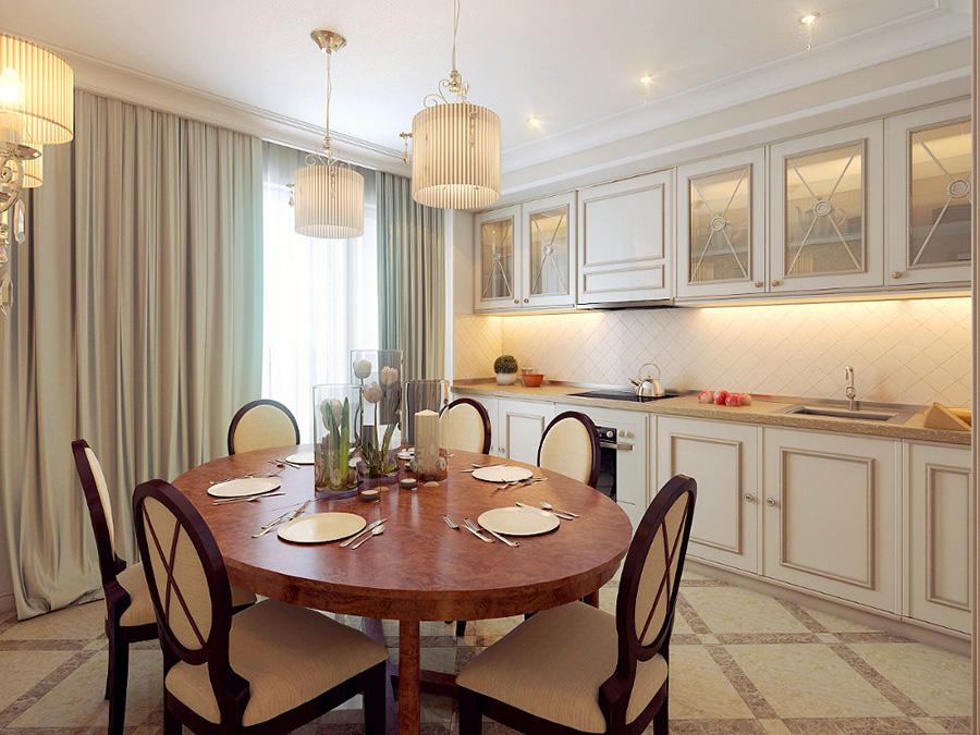 Интерьер кухни в квартире. Стилизация - неоклассический стиль