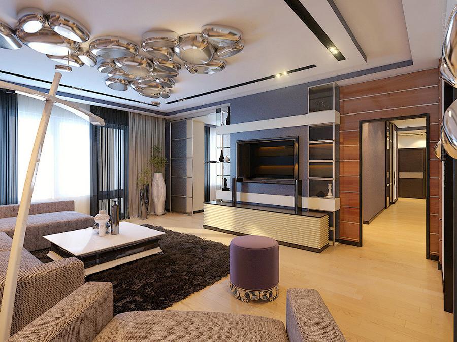 Дизайн интерьера гостиной комнаты. Эклектика. Стилизация - современный стиль, конструктивизм.
