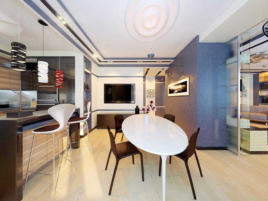 Интерьер столовой комнаты стилизованный в современной стилистике и конструктивизм.