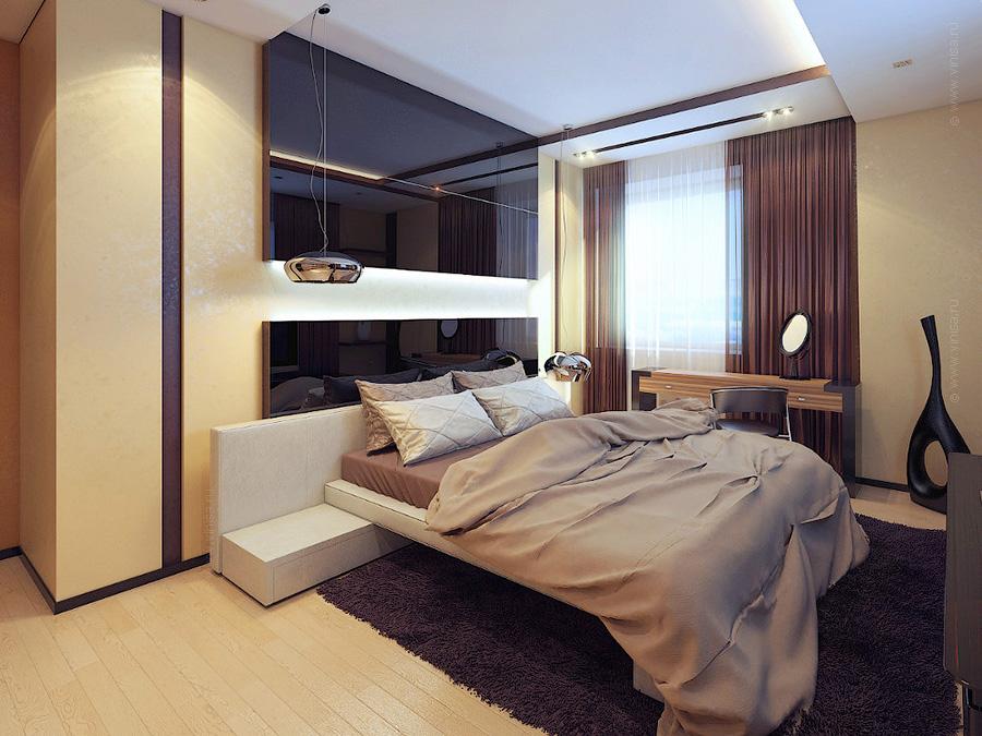 Интерьер спальни. Стеклянное изголовье кровати
