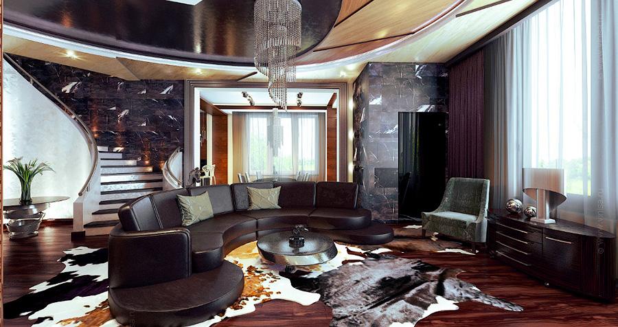 Дизайн гостиной комнаты в коттедже. Эклектика. Стилизация - гламур, арт-деко, современный стиль.
