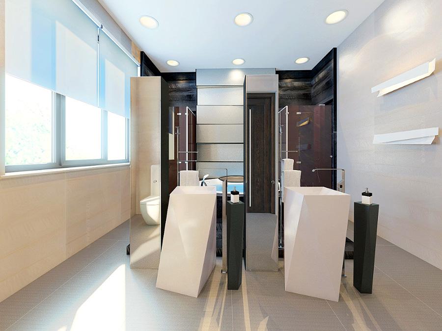 Интерьер ванной комнаты при спальне