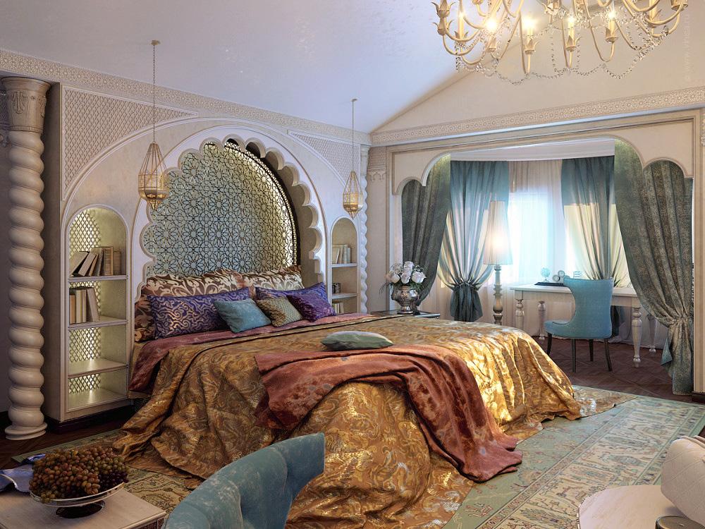 Спальная комната в частном доме. Восточный стиль.