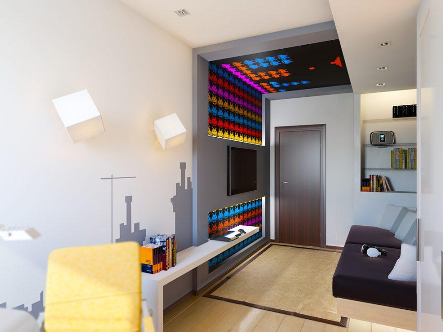 Детская комната мальчика в тематике ретро-видеоигр